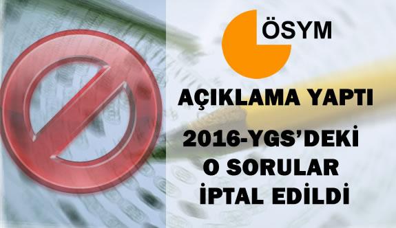 2016-YGS 'de 2 Soru İptal Edildi