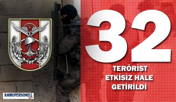 27 Mart 2016 Tarihinde 32 Bölücü Terörist Etkisiz Hale Getirildi
