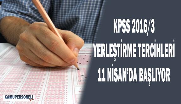 KPSS 2016-3 Yerleştirme Tercihleri 11 Nisan'da Başlıyor