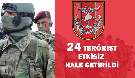 """TSK :"""" 24 Mart 2016 Tarihinde 24 Terörist Etkisiz Hale Getirildi"""""""