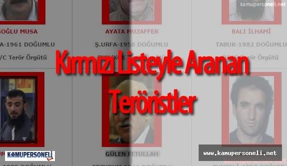 Emniyet Güçleri Tarafından Başına Para Ödülü Konan Kırmızı Listeyle Aranan Teröristler