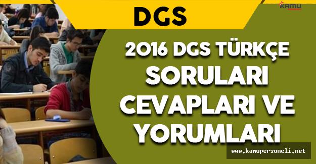 2016 DGS Türkçe ve Sözel Mantık Soruları, Cevapları ve Yorumları 21 Ağustos