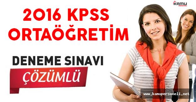 2016 KPSS Lise Genel Kültür Genel Yetenek Çözümlü Deneme Sınavı
