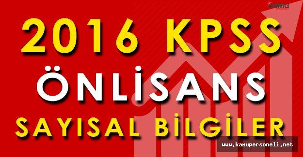2016-KPSS Ön Lisans Sınav Sonuçlarına İlişkin Sayısal Bilgiler