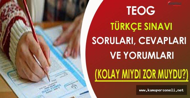 2016 TEOG Türkçe Soruları, Cevapları ve Yorumları (Kolay mıydı, Zor muydu?)