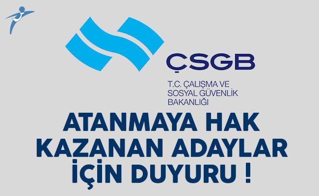 KPSS 2016/2 tercihleriyle Çalışma Bakanlığı'na atananlardan istenilen belgeler
