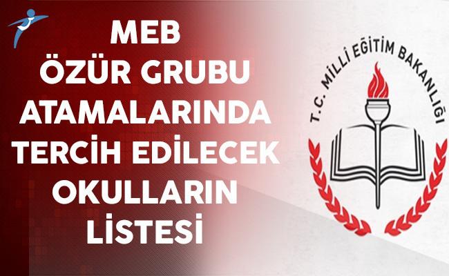 MEB Özür Grubu Atamalarında Tercih Edilecek Okulların Listesi Yayınlandı
