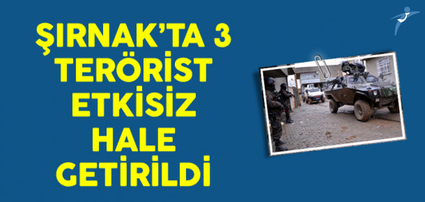 Şırnak'ta 3 PKK'lı Terörist Etkisiz Hale Getirildi