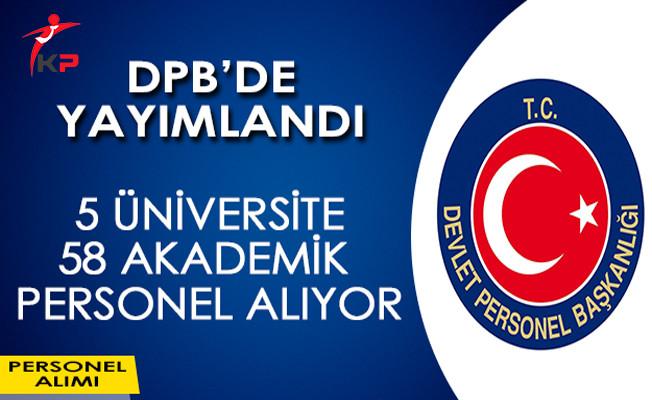 DPB'de Yayımlandı: 5 Üniversite 58 Akademik Personel Alıyor