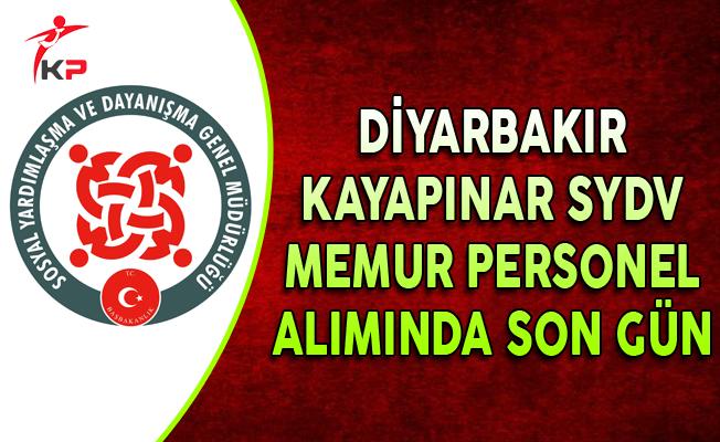Diyarbakır Kayapınar SYDV Memur Personel Alımında Son Gün