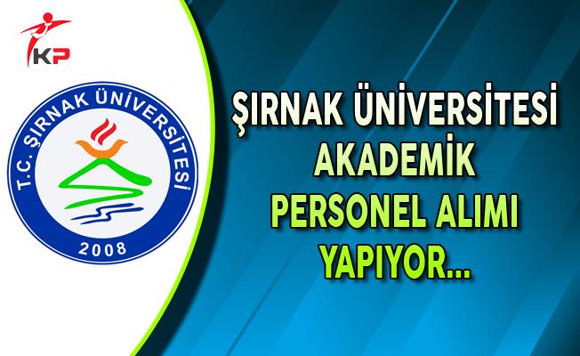 Şırnak Üniversitesi Akademik Personel Alımı Yapıyor