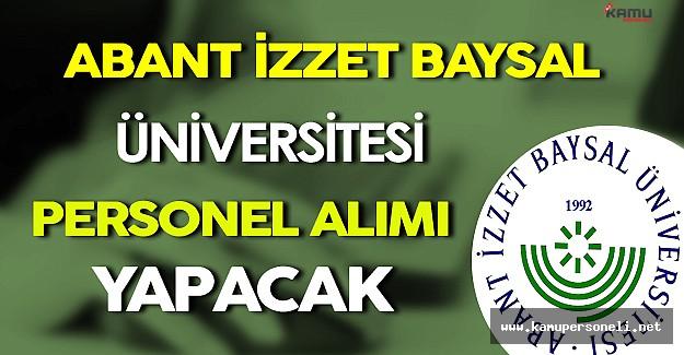Abant İzzet Baysal Üniversitesi Personel Alımı