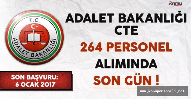 Adalet Bakanlığı CTE 264 Kamu Personeli Alımında Son Gün !