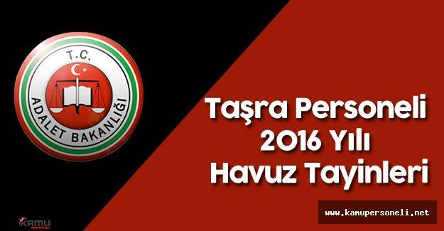 Adalet Bakanlığı Taşra Personeli için 2016 Yılı Havuz Tayinleri