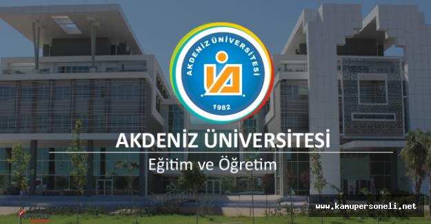 Akdeniz Üniversitesi Akademik Personel Alımı