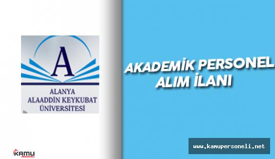 Alanya Alaaddin Keykutbat Üniversitesi Akademik Personel Alımı