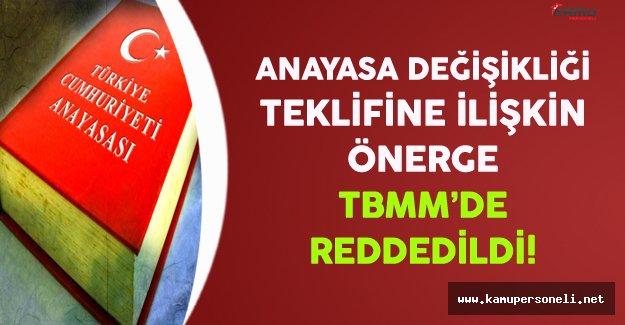 Anayasa Değişikliği Teklifine İlişkin Önerge TBMM'de Kabul Edilmedi