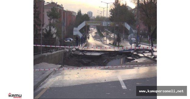 Ankara'da Petrol İstayonu Yakınındaki Yol Çöktü