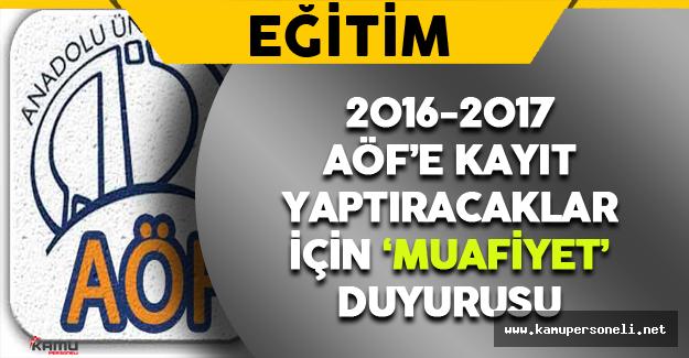 AÖF 2016-2017 Ders Transferi ve Muafiyet Duyurusu
