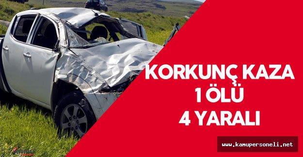 Ardahan'da Korkunç Trafik Kazası 1 Ölü 4 Yaralı