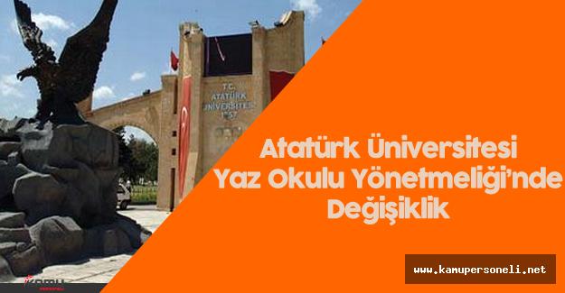 Atatürk Üniversitesi Yaz Okulu Yönetmeliği'nde Değişiklik  Yapıldı