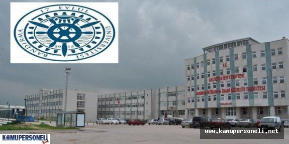 Bandırma Onyedi Eylül Üniversitesi Akademik Personel Alım İlanı