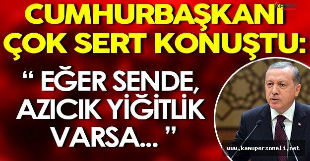 """Cumhurbaşkanı Erdoğan Çok Sert Konuştu: """" Sende azıcık yiğitlik varsa... """""""