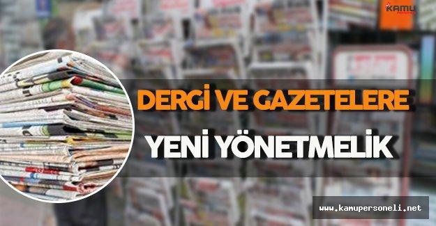 Dergi ve Gazetelere Yeni Yönetmelik