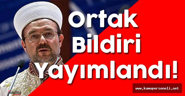 Diyanet İşleri Başkanı Mehmet Görmez Bildiri Yayımladı