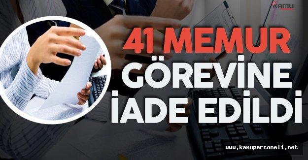 Edirne'de 41 Memur Görevine İade Edildi