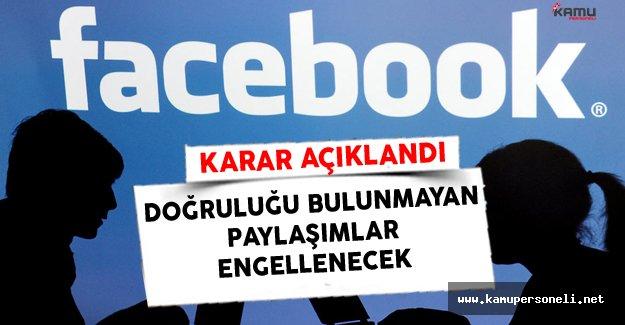 Facebook Doğruluğu Bulunmayan Paylaşımları Engelleme Kararı Aldı