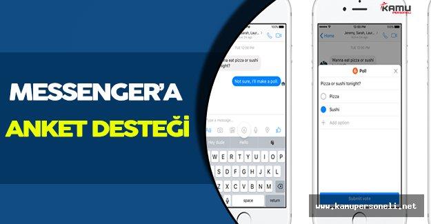 Facebook Messenger Üzerinde Anket Özelliğini Etkinleştirdi