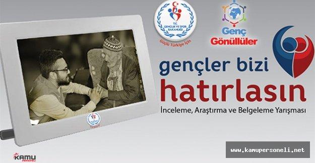 """Gençlik ve Spor Bakanlığından """" Gençler Bizi Hatırlasın Yarışması """" Düzenlenecek"""