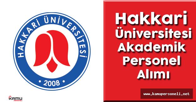 Hakkari Üniversitesi Akademik Personel Alımı