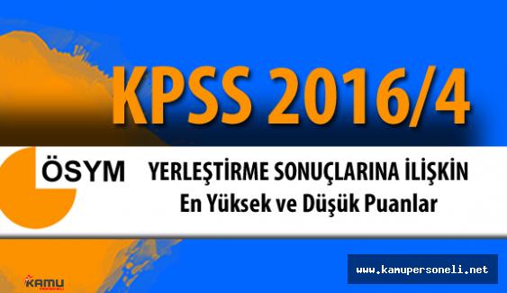 İşte KPSS 2016/4 Yerleştirme Sonuçlarına İlişkin En Küçük ve En Büyük Puanlar
