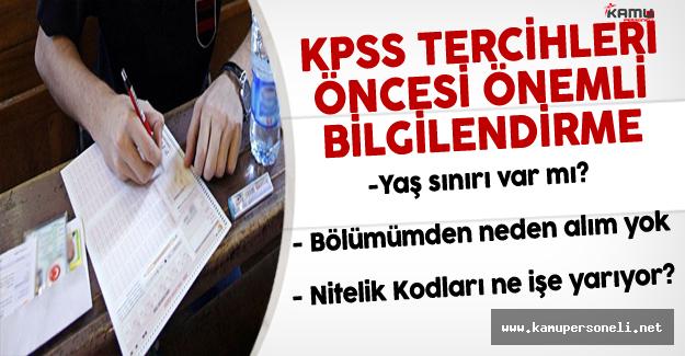 KPSS 2016/2 Tercihleri Öncesinde Lisans , Önlisans ve Lise Adayları İçin Önemli Bilgilendirme