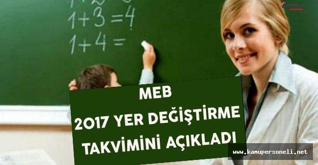 MEB Öğretmenlerin 2017 Ocak Yer Değiştirme Takvimini Yayınladı