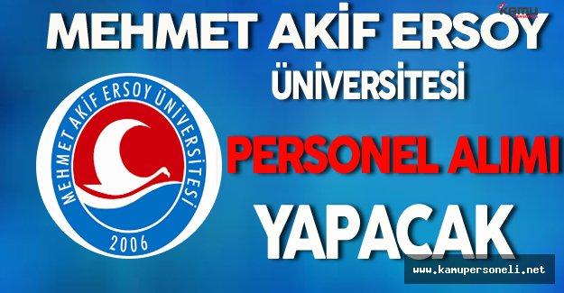 Mehmet Akif Ersoy Üniversitesi Personel Alımı Yapacak