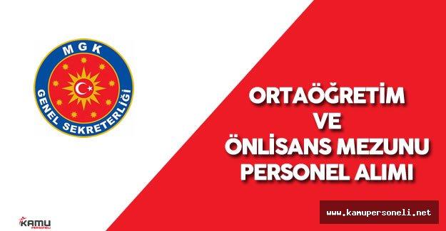 Milli Güvenlik Kurulu Genel Sekreterliği (MGK) Merkezi Atama ile Personel Alımı Yapacak