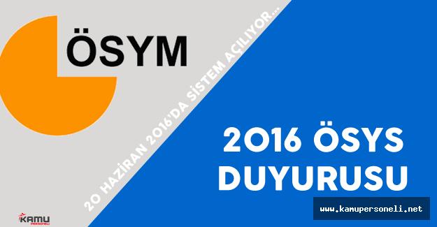ÖSYM '2016 ÖSYS' Kayıt Kontrol Duyurusu Yayımladı