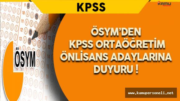 ÖSYM'den 2016 KPSS Ortaöğretim/Önlisans Adaylarına Duyuru