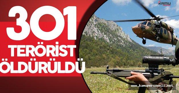PKK'ya Yönelik Operasyonlar Sürüyor ! 301 Bölücü Terörist Öldürüldü