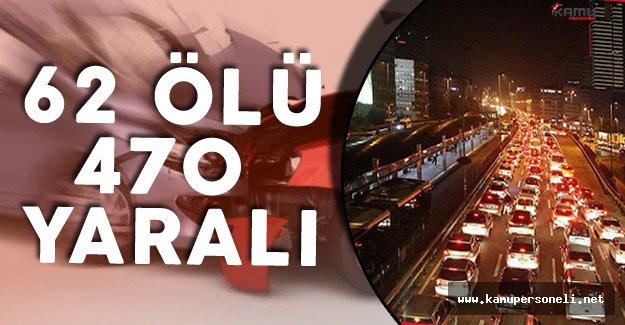 """Tatil Bilançosu :"""" 62 Ölü 470 Yaralı"""""""