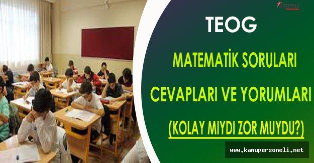 TEOG 1.Dönem Matematik Sınav Soruları,Cevapları ve Yorumları