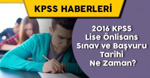 2016 KPSS Lise Önlisans Sınav , Başvuru Tarihi ve Başvuru Ücretleri
