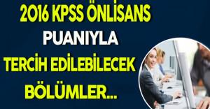 2016 KPSS/Önlisans Puanıyla Tercih Edilebilecek Bölümler