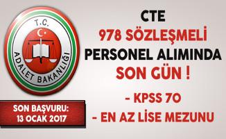 Adalet Bakanlığı En Az Lise Mezunu 978 Sözleşmeli Personel Alımında Son Gün !