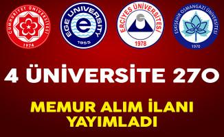 4 Üniversite 270 Sözleşmeli Memur Alımı Yapıyor