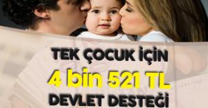 Anne ve Babalara Tek Çocuk için 4 Bin 521 TL Devlet Desteği