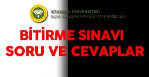İstanbul Üniversitesi AUZEF Yarıyıl Sonu ( Bitirme Sınavları ) ( Soruları , Cevapları ve Yorumları Kamu Personeli Sitesinde)